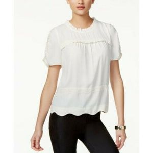 NWT Kensie Black Scallop & Ruffle Pullover Top